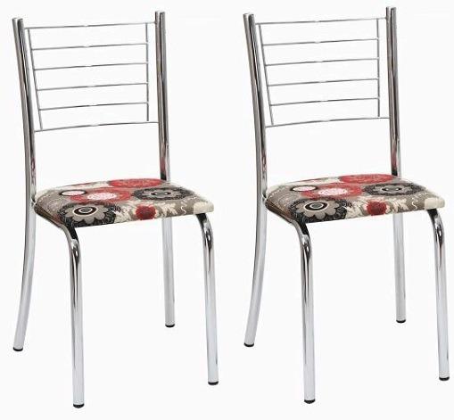 Kit 02 Cadeiras Cromada Cozinha Banqueta Tubular Alice