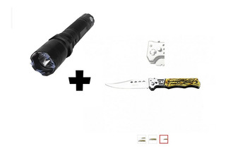 Lanterna Com Taser -type 1101 Flashlight + Canivete Camping
