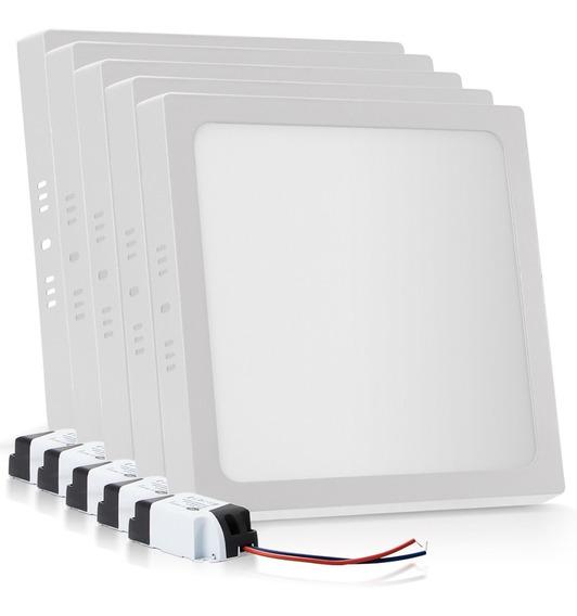 Kit 10 Painel Plafon Sobrepor Led 18w Branco Quente Quadrado