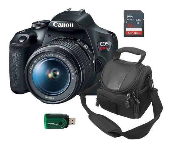 Kit Câmera Eos Canon T7 + Bolsa + Leitor E Cartão 32gb + Nf