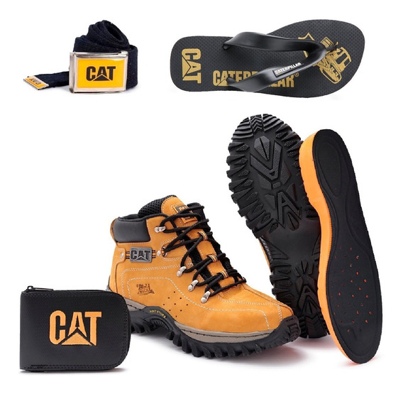 Kit Bota Adventure Caterpillar + Chinelo Cat Carteira Cinto