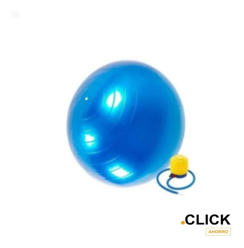 Pelota Pilates Y Yoga Balon 65cm Azul + Inflador/click Ahorr