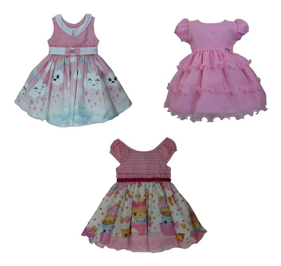 Kit Com 3 Vestidos De Festa Infantil Tam: Pmg Da Katitus