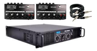 Combo Bandas Audio Cuotas Moon 2 Consolas 8 Canales Total + Potencia 2000w Rms