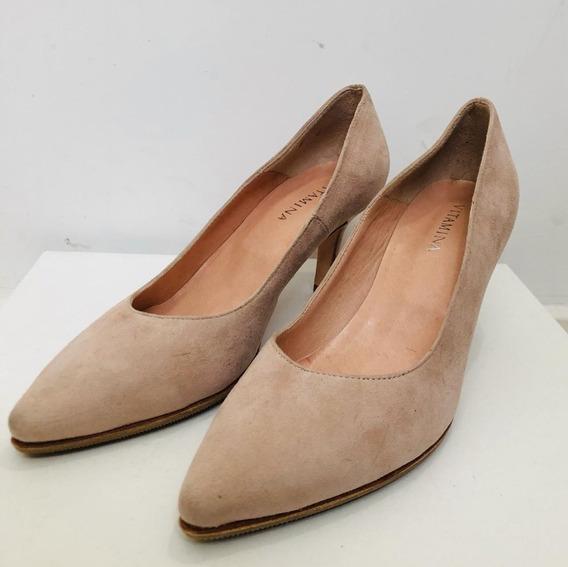 Zapatos Mujer Tacos Stilettos Oficina Gamuza Nude Vitamina