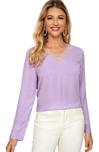 Blusa De Dama Elegante Unicolor Con Malla Transparente