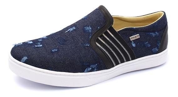 Sapatênis Slip On Masculino Jeans Casual Lançamento 2019