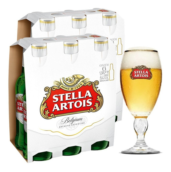 Kit Stellaartois Com 2 Packs - 12 Longnecks + Cálice Stella