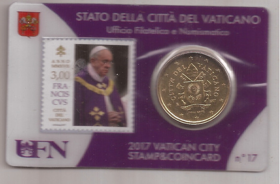 Vaticano Moneda 50 Cent Euro Mas Estampilla Papa Francisco17