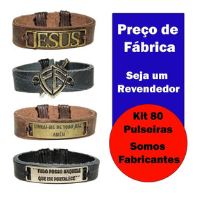 Lote 80 Pulseiras Couro Deus É Fiel Jesus Salmo 23