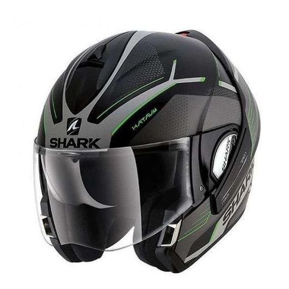 Capacete Shark Evoline 3 Hataum - Preto/prata/verde