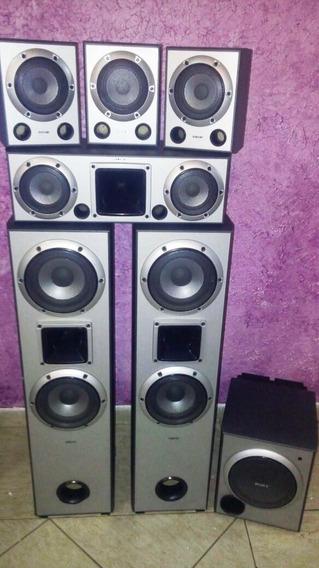 Kit 6.1 - 6 Caixas Sony Muteki 185w + 1 Subwoofer Ativo 200w