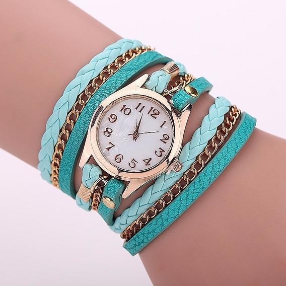 Relógio Feminino Dourado Couro Verde Mar Vintage Barato