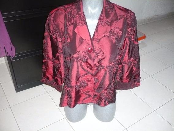 Saco Tornasol Rojo Quemado Talla 34-36 Marca Dressbarn 3/4 M