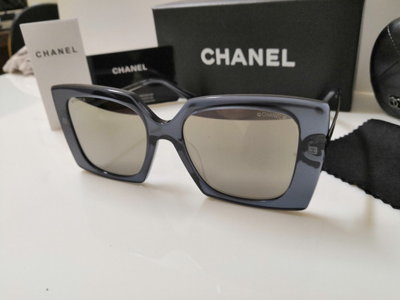 Óculos Sol Chanel Original Ch4272 Acetato Cinza E Espelhado