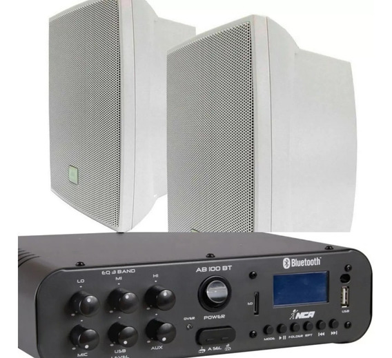 Kit Som Ambiente Amplificado100w C/bluetooth+02cxs Jbl C321b