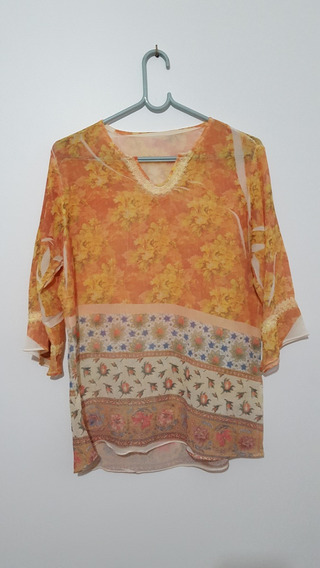 Blusa Camisa Feminina Florida Estampada