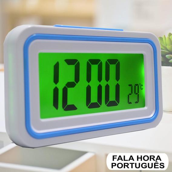 Relógio Digital Lcd Fala Hora Em Português Azul Claro