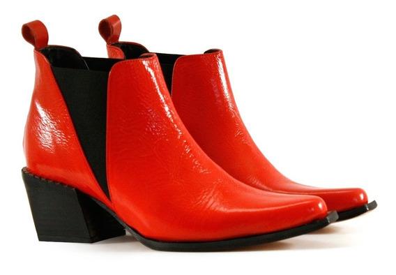 Botas Cortas Tipo Texanas En Charol Rojo Batistella