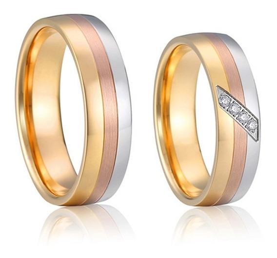 Par De Alianças Casamento 3 Cores Banho Em Ouro 18k 6mm