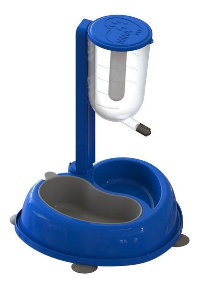 Bebedouro Automatico Para Caes Com Comedouro - Azul