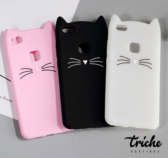 Funda Botarga Diseño Gato Bigotes Colores Huawei P10 Lite