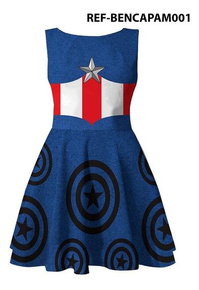Vestido Fantasia Infantil Capitão América
