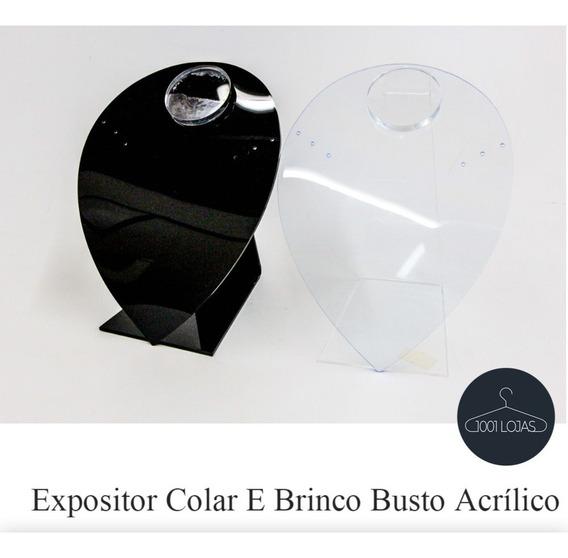 Expositor Colar E Brinco Busto Acrílico Kit 2