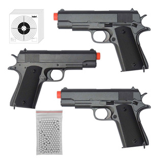 3x Pistolas De Airsoft Spring Cyma Zm04 1911 Baby + 500 Bbs