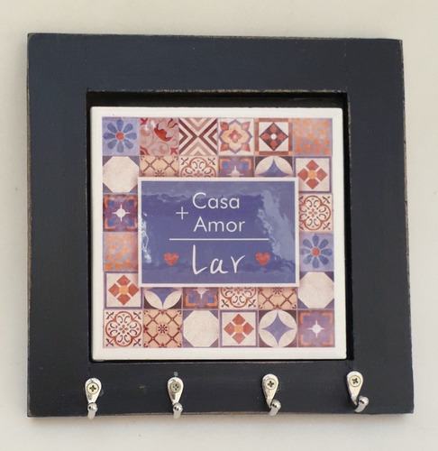 Porta Chave Com Azulejo - Casa + Amor