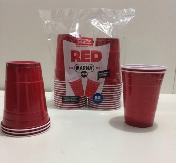 Red Warna Cup - 100 Copos - Vermelho Americano - 475ml