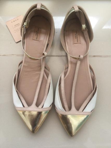 Sandália Flat Zara Couro Nude E Dourada Nova 37