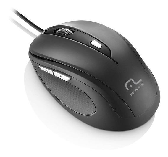 Mouse Com Fio 1600dpi Usb 6 Botões Preto Multilaser - Mo241
