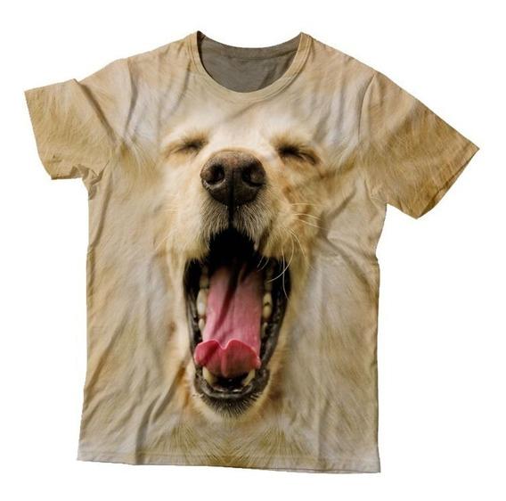 Camiseta 3d Estampa Total De Animais - Cachorro/golden