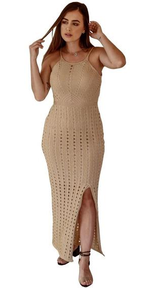 Vestido De Tricô Roupas Femininas Moda Blogueira Vestido Longo Tricot Vestido Longo Ensaio Gestante A Pronta Entrega