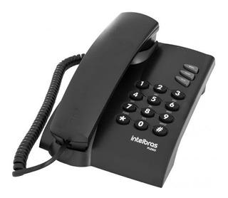 Telefone Pleno Preto Intelbras Com Fio Simples Escritório