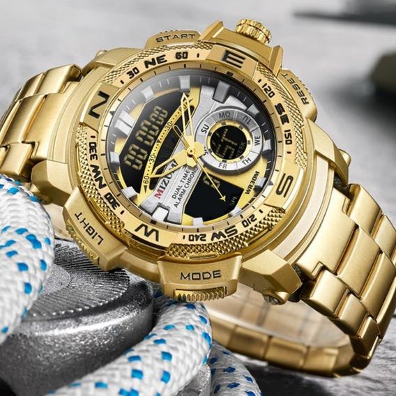 Relógio Masculino Dourado Em Aço A Prova Dágua Frete Gratis