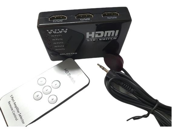 Hub Switch Hdmi 5 Portas Splitter Full Hd Controle Fonte