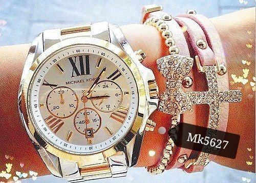 Relógio Feminino Michael Kors Mk5627 Prata & Dourado Misto Ouro 18k - Camille