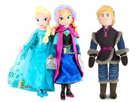 Kit 3 Pelúcias Frozen Disney Anna Elsa Kristoff Grande 50cm