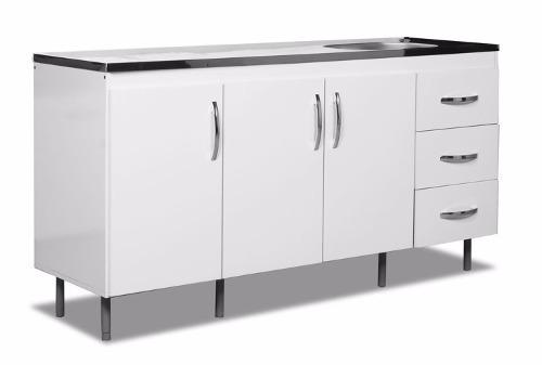 Mueble Bajo Mesada Cocina 160x83x50 Con 3 Puertas 3 Cajones