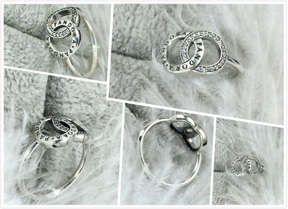Anel Pandora Círculos Pandora Signature Tam 56/16 Novo Caixa