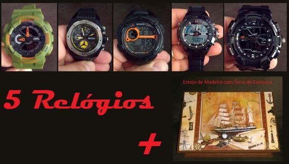 5 Relógios + Porta Relogio: Speedo Weide Skmei Tt Life
