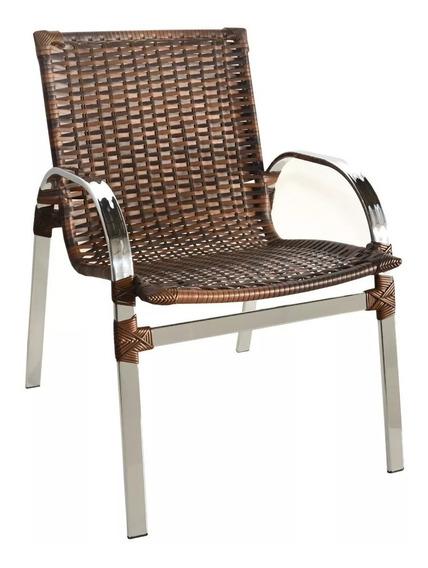 Cadeira Poltrona Fibra Sintética Junco Vime Ratan Área Exter