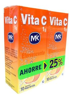 2 Vitaminas C Efervescente 10 Tabletas Naranja Ahorre 25%