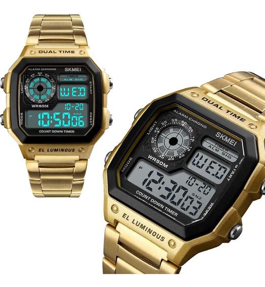 Relógio Digital Feminino Pulseira Dourado Aço Inoxidável