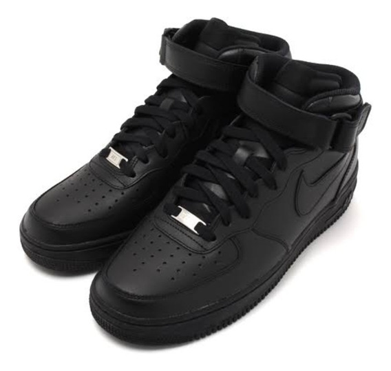 Nike Air Force One Negro Dama Piel Original En Caja Oferta