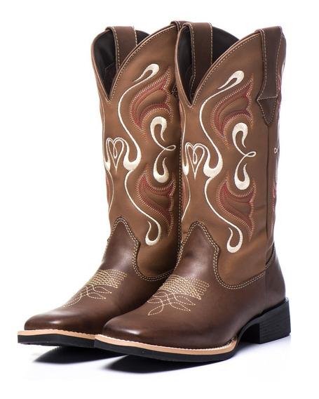 Bota Texana Feminina Cano Longo Bico Quadrado Couro Legitimo