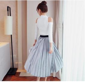 b05bf5a29 Falda Plisada Plateada - Faldas Mujer en Mercado Libre Colombia