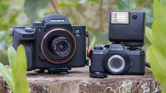 Câmera Pentax Auto 110 + Lente 18mm F2.8 + Adaptador Pra Sony Alpha